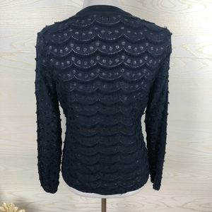 Karlie Tops - Karlie Eyelet & Scalloped Fringe Navy Top